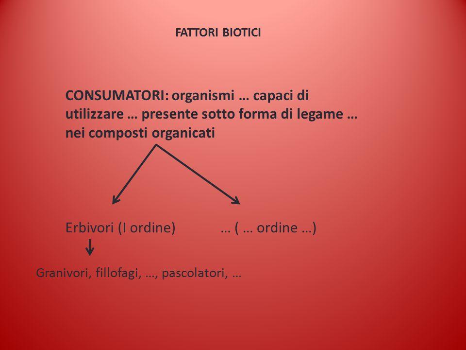FATTORI BIOTICI CONSUMATORI: organismi … capaci di utilizzare … presente sotto forma di legame … nei composti organicati Erbivori (I ordine)… ( … ordine …) Granivori, fillofagi, …, pascolatori, …
