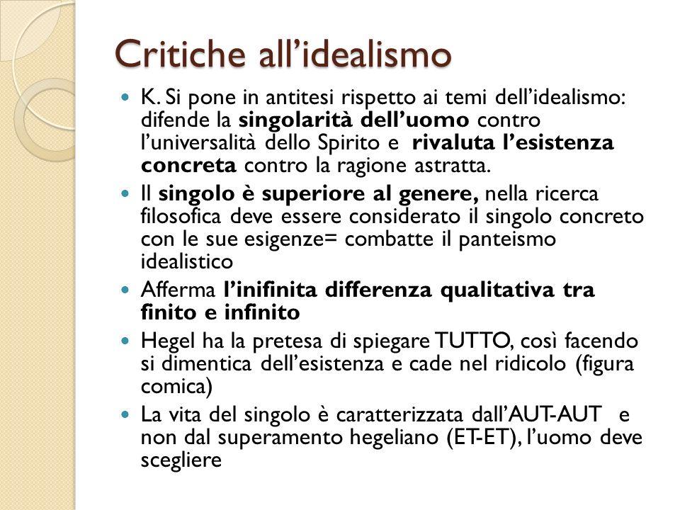 Critiche all'idealismo K.