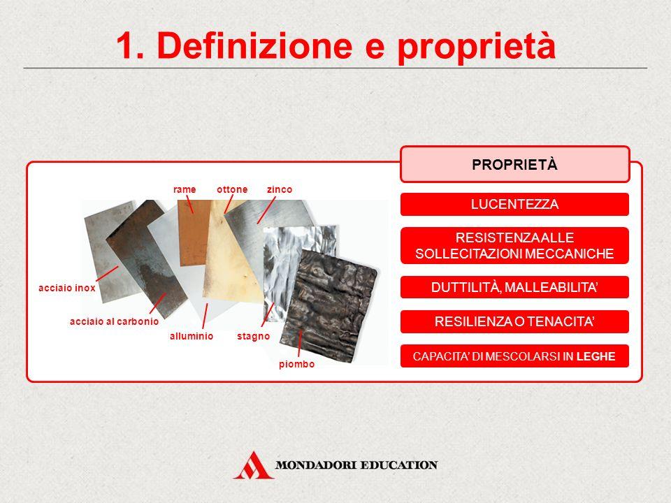 1. Definizione e proprietà PROPRIETÀ LUCENTEZZA RESISTENZA ALLE SOLLECITAZIONI MECCANICHE DUTTILITÀ, MALLEABILITA' RESILIENZA O TENACITA' CAPACITA' DI