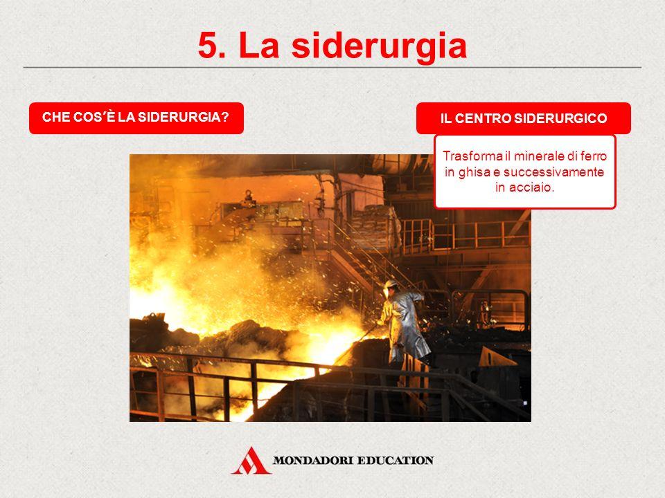 5.La siderurgia CHE COS'È LA SIDERURGIA.