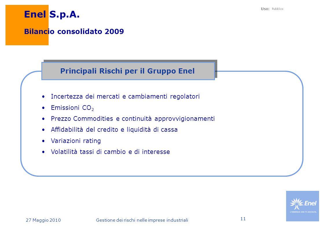 Uso: Pubblico 27 Maggio 2010Gestione dei rischi nelle imprese industriali 11 Enel S.p.A.