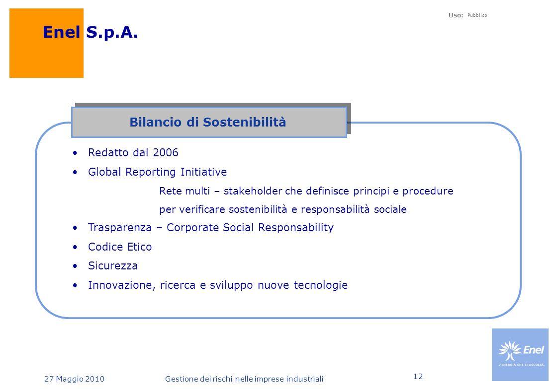 Uso: Pubblico 27 Maggio 2010Gestione dei rischi nelle imprese industriali 12 Enel S.p.A.