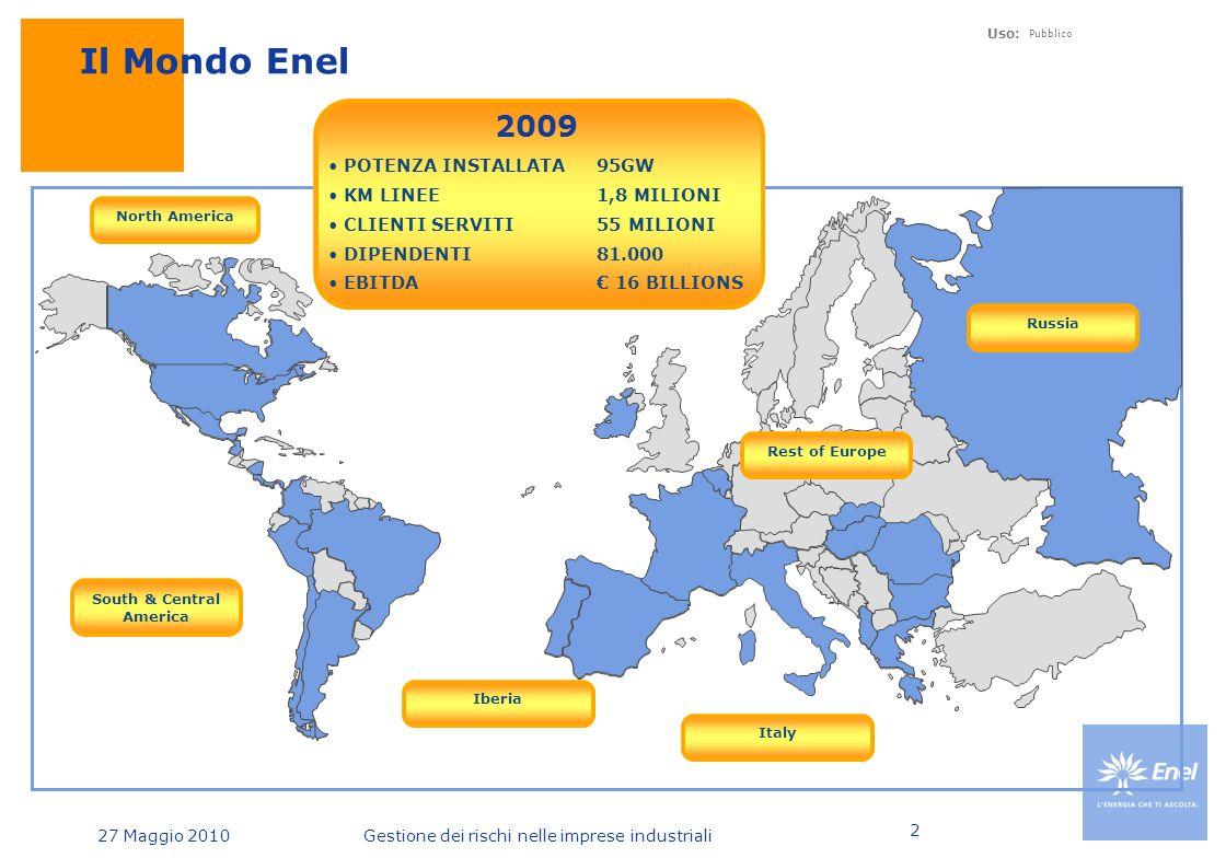 Uso: Pubblico 27 Maggio 2010Gestione dei rischi nelle imprese industriali 2 POTENZA INSTALLATA 56 GW KM LINEE 1 MILIONE CLIENTI SERVITI 30 MILIONI DIPENDENTI 78.500 EBITDA € 9 BILLIONS 1999 Il Mondo Enel Italy North America POTENZA INSTALLATA 95GW KM LINEE 1,8 MILIONI CLIENTI SERVITI 55 MILIONI DIPENDENTI 81.000 EBITDA € 16 BILLIONS 2009 South & Central America Rest of Europe Iberia Russia