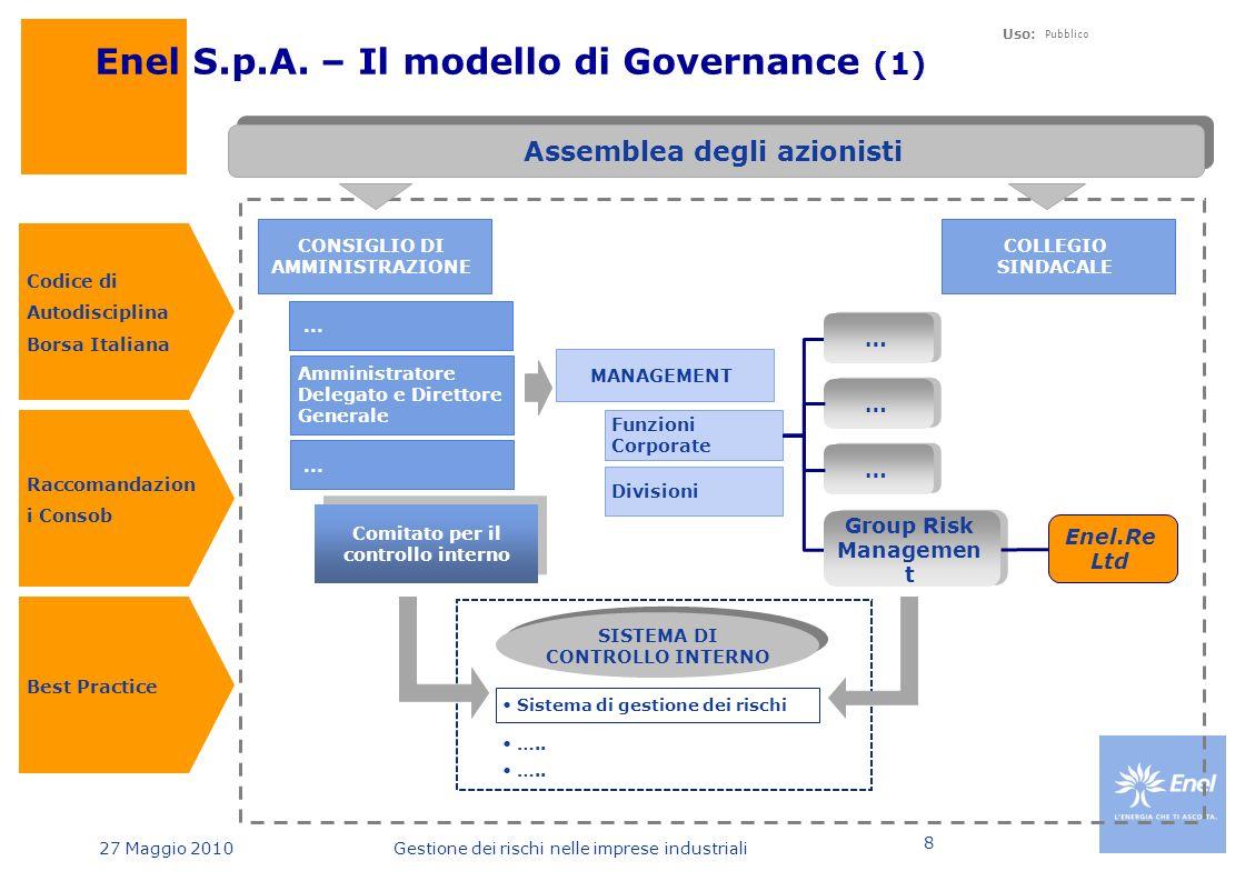27 Maggio 2010 Uso: Pubblico Gestione dei rischi nelle imprese industriali 8 Assemblea degli azionisti Enel S.p.A.