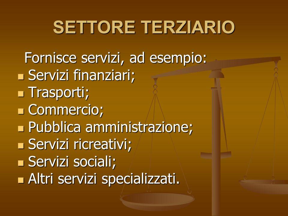 SETTORE TERZIARIO Fornisce servizi, ad esempio: Fornisce servizi, ad esempio: Servizi finanziari; Servizi finanziari; Trasporti; Trasporti; Commercio; Commercio; Pubblica amministrazione; Pubblica amministrazione; Servizi ricreativi; Servizi ricreativi; Servizi sociali; Servizi sociali; Altri servizi specializzati.