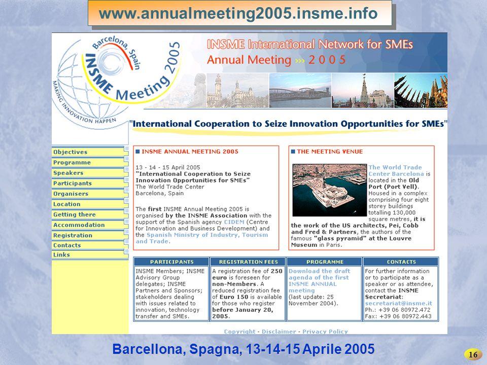 INSME – Rete Internazionale per le PMI 16 Barcellona, Spagna, 13-14-15 Aprile 2005 www.annualmeeting2005.insme.info