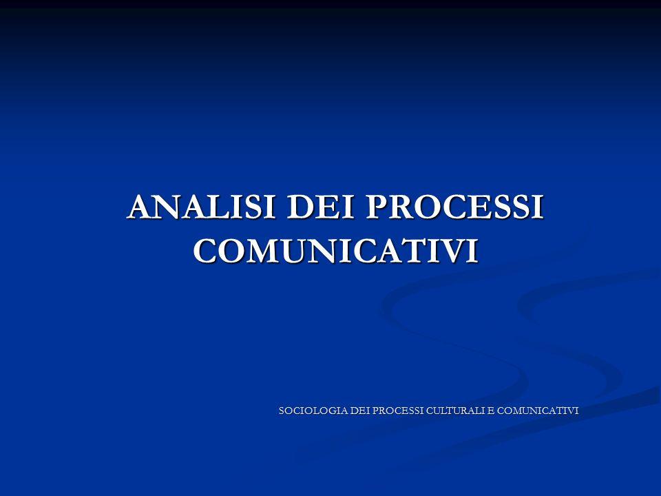 ANALISI DEI PROCESSI COMUNICATIVI ANALISI DEI PROCESSI COMUNICATIVI SOCIOLOGIA DEI PROCESSI CULTURALI E COMUNICATIVI