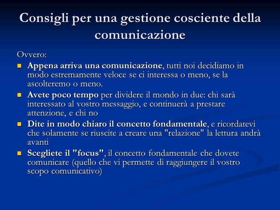 Consigli per una gestione cosciente della comunicazione Ovvero: Appena arriva una comunicazione, tutti noi decidiamo in modo estremamente veloce se ci interessa o meno, se la ascolteremo o meno.