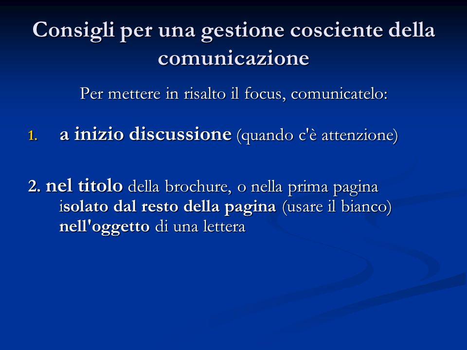 Consigli per una gestione cosciente della comunicazione Per mettere in risalto il focus, comunicatelo: 1.