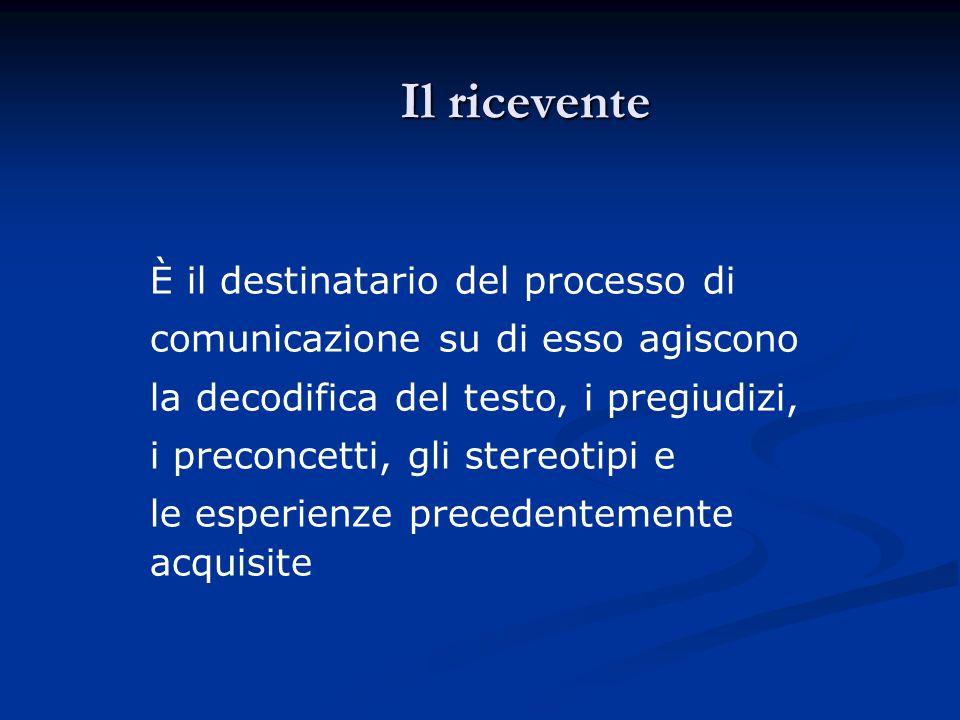 Il ricevente È il destinatario del processo di comunicazione su di esso agiscono la decodifica del testo, i pregiudizi, i preconcetti, gli stereotipi e le esperienze precedentemente acquisite
