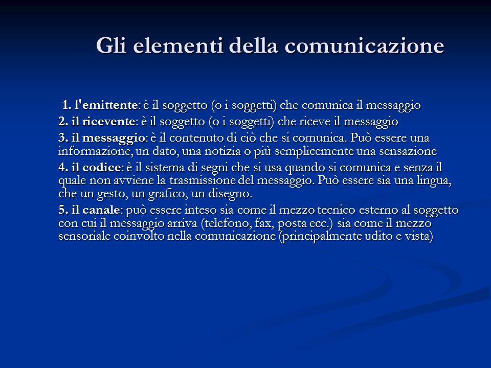1.l emittente: è il soggetto (o i soggetti) che comunica il messaggio 2.