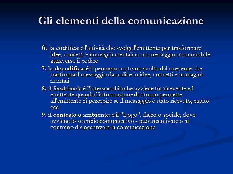 Gli elementi della comunicazione Gli elementi della comunicazione 6.