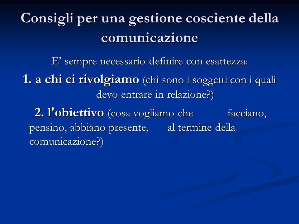 Consigli per una gestione cosciente della comunicazione E' sempre necessario definire con esattezza : 1.