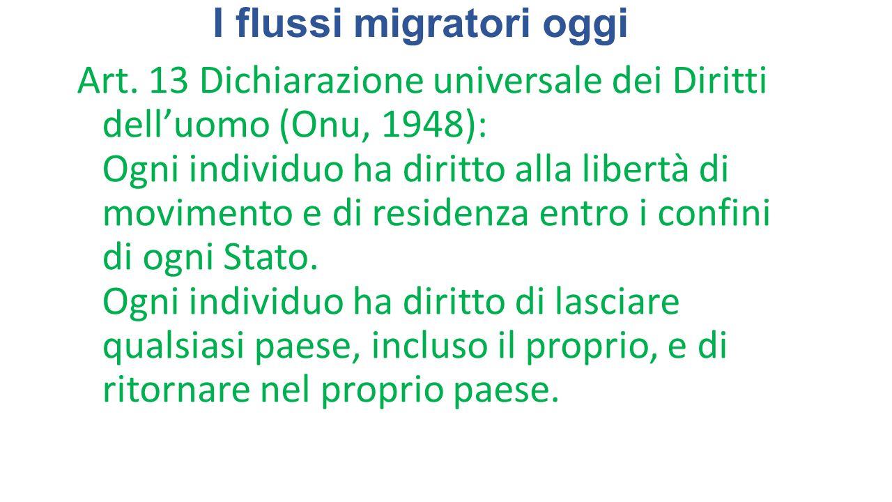 I flussi migratori oggi Art. 13 Dichiarazione universale dei Diritti dell'uomo (Onu, 1948): Ogni individuo ha diritto alla libertà di movimento e di r