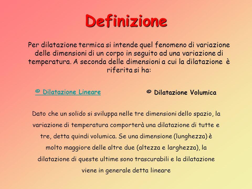Definizione Per dilatazione termica si intende quel fenomeno di variazione delle dimensioni di un corpo in seguito ad una variazione di temperatura.