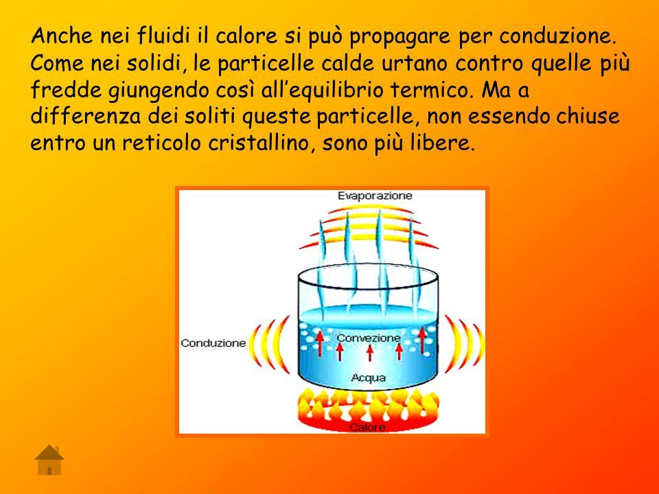 Anche nei fluidi il calore si può propagare per conduzione.