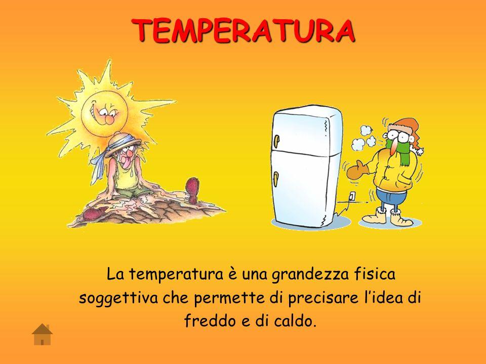 TEMPERATURA La temperatura è una grandezza fisica soggettiva che permette di precisare l'idea di freddo e di caldo.
