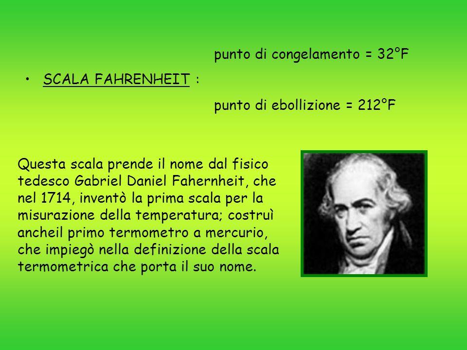 punto di congelamento = 273 K SCALA KELVIN : punto di ebollizione = 373 K Questa scala termometrica è stata introdotta da William Thomson Kelvin nel 1848.