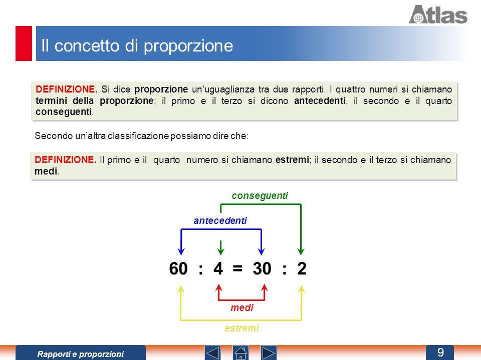 Il concetto di proporzione DEFINIZIONE.