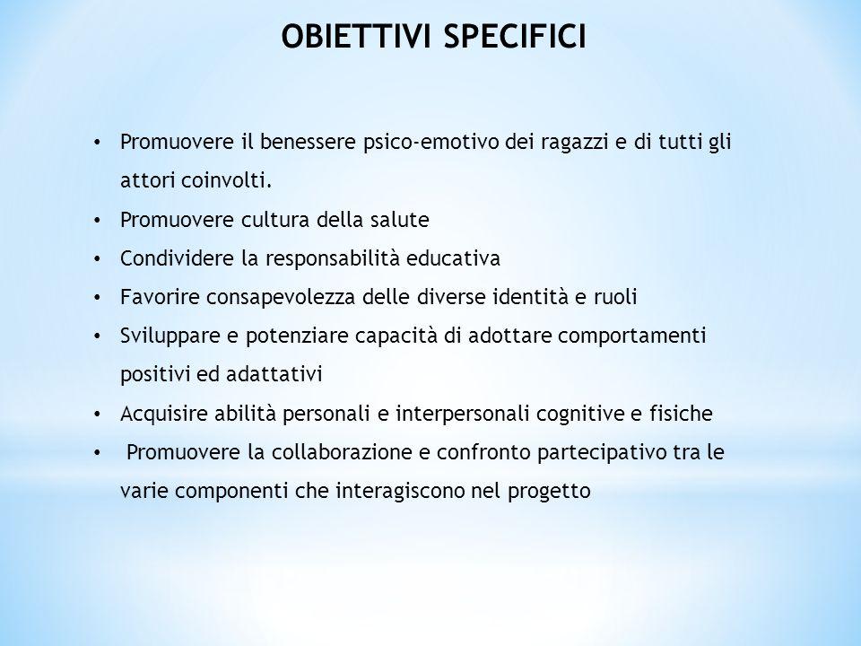 OBIETTIVI SPECIFICI Promuovere il benessere psico-emotivo dei ragazzi e di tutti gli attori coinvolti.
