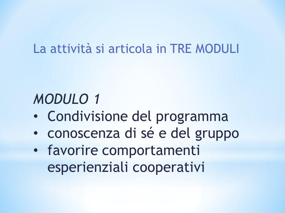 La attività si articola in TRE MODULI MODULO 1 Condivisione del programma conoscenza di sé e del gruppo favorire comportamenti esperienziali cooperativi