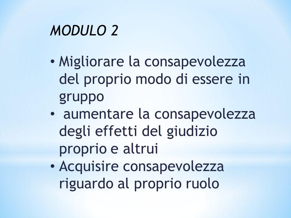 MODULO 2 Migliorare la consapevolezza del proprio modo di essere in gruppo aumentare la consapevolezza degli effetti del giudizio proprio e altrui Acquisire consapevolezza riguardo al proprio ruolo
