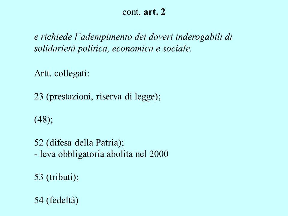 cont. art. 2 sia nelle formazioni ove si svolge la sua personalità, Artt.