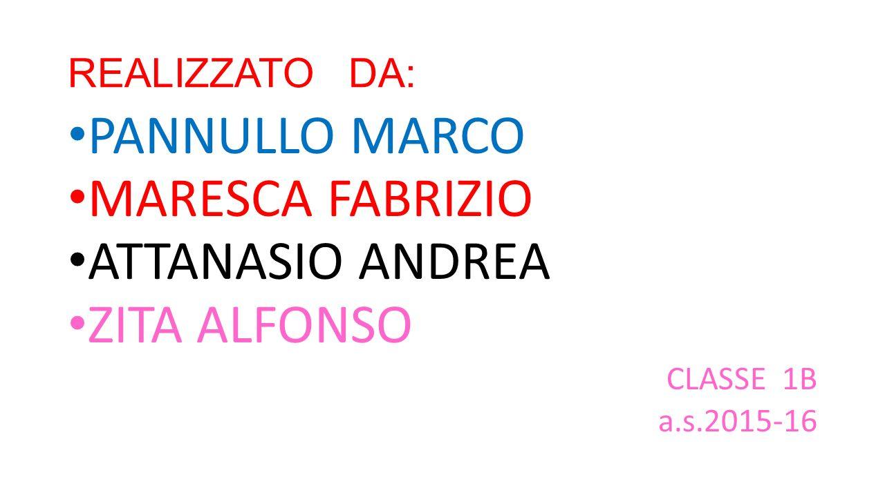 REALIZZATO DA: PANNULLO MARCO MARESCA FABRIZIO ATTANASIO ANDREA ZITA ALFONSO CLASSE 1B a.s.2015-16