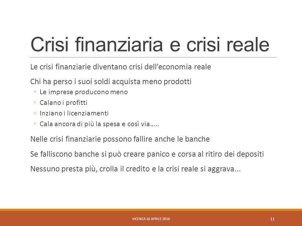 Crisi finanziaria e crisi reale Le crisi finanziarie diventano crisi dell'economia reale Chi ha perso i suoi soldi acquista meno prodotti ◦Le imprese