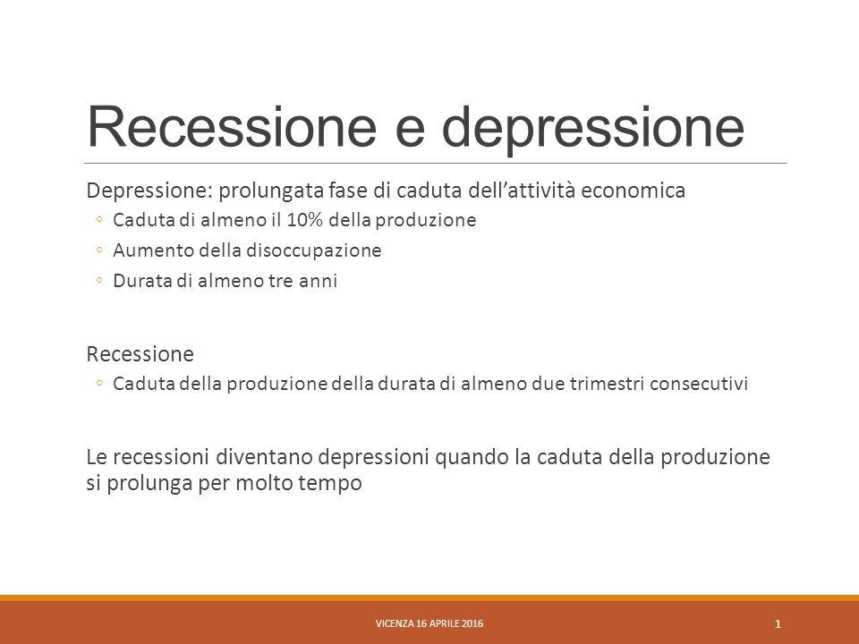 Recessione e depressione Depressione: prolungata fase di caduta dell'attività economica ◦Caduta di almeno il 10% della produzione ◦Aumento della disoccupazione ◦Durata di almeno tre anni Recessione ◦Caduta della produzione della durata di almeno due trimestri consecutivi Le recessioni diventano depressioni quando la caduta della produzione si prolunga per molto tempo VICENZA 16 APRILE 2016 1