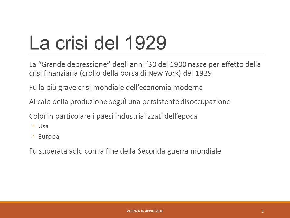 La crisi del 1929 e calo della produzione VICENZA 16 APRILE 2016 3