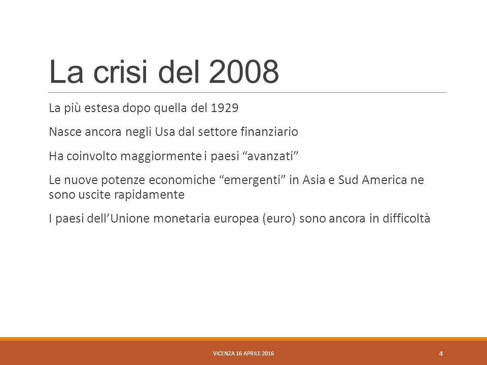 """La crisi del 2008 La più estesa dopo quella del 1929 Nasce ancora negli Usa dal settore finanziario Ha coinvolto maggiormente i paesi """"avanzati"""" Le nu"""