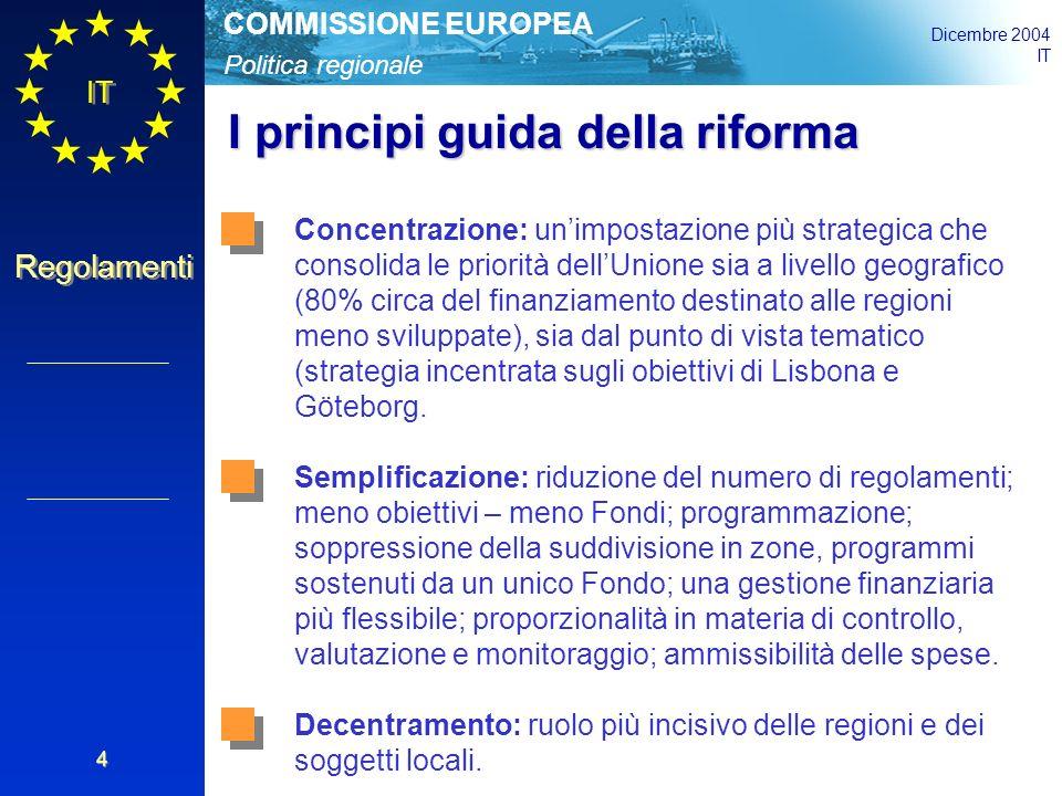 Politica regionale COMMISSIONE EUROPEA Dicembre 2004 IT Regolamenti 4 I principi guida della riforma Concentrazione: un'impostazione più strategica che consolida le priorità dell'Unione sia a livello geografico (80% circa del finanziamento destinato alle regioni meno sviluppate), sia dal punto di vista tematico (strategia incentrata sugli obiettivi di Lisbona e Göteborg.