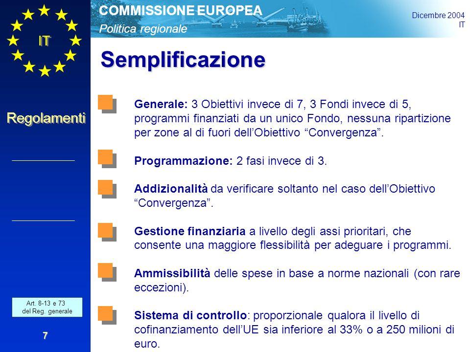Politica regionale COMMISSIONE EUROPEA Dicembre 2004 IT Regolamenti 7 Semplificazione Generale: 3 Obiettivi invece di 7, 3 Fondi invece di 5, programmi finanziati da un unico Fondo, nessuna ripartizione per zone al di fuori dell'Obiettivo Convergenza .
