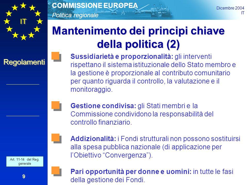 Politica regionale COMMISSIONE EUROPEA Dicembre 2004 IT Regolamenti 9 Mantenimento dei principi chiave della politica (2) Sussidiarietà e proporzionalità: gli interventi rispettano il sistema istituzionale dello Stato membro e la gestione è proporzionale al contributo comunitario per quanto riguarda il controllo, la valutazione e il monitoraggio.