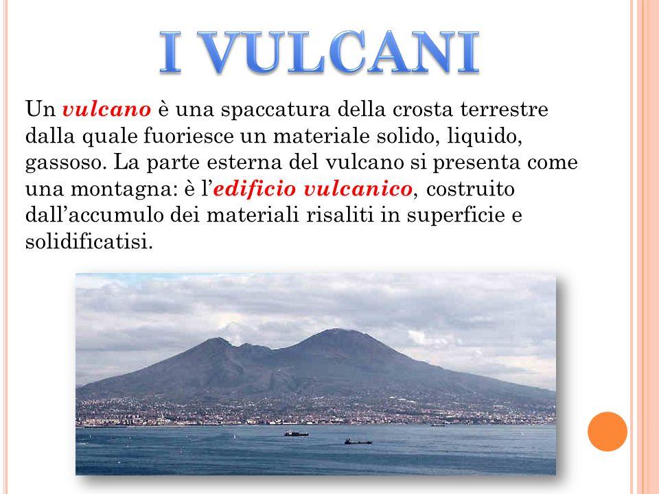 Un vulcano è una spaccatura della crosta terrestre dalla quale fuoriesce un materiale solido, liquido, gassoso.