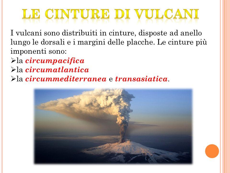I vulcani sono distribuiti in cinture, disposte ad anello lungo le dorsali e i margini delle placche.
