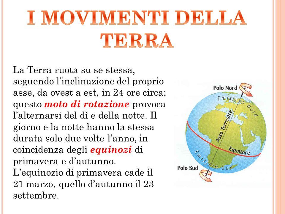 La Terra ruota su se stessa, seguendo l'inclinazione del proprio asse, da ovest a est, in 24 ore circa; questo moto di rotazione provoca l'alternarsi del dì e della notte.