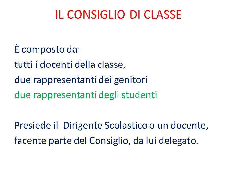 IL CONSIGLIO DI CLASSE È composto da: tutti i docenti della classe, due rappresentanti dei genitori due rappresentanti degli studenti Presiede il Dirigente Scolastico o un docente, facente parte del Consiglio, da lui delegato.