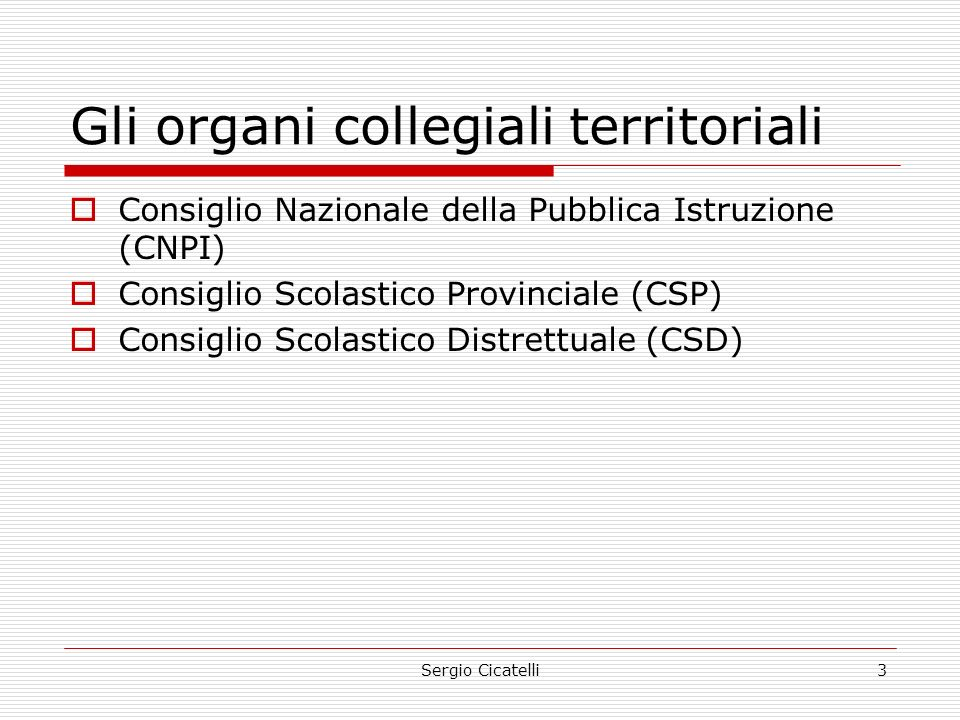 Sergio Cicatelli3 Gli organi collegiali territoriali  Consiglio Nazionale della Pubblica Istruzione (CNPI)  Consiglio Scolastico Provinciale (CSP)  Consiglio Scolastico Distrettuale (CSD)