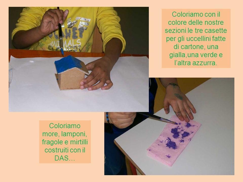 Coloriamo con il colore delle nostre sezioni le tre casette per gli uccellini fatte di cartone, una gialla,una verde e l'altra azzurra.