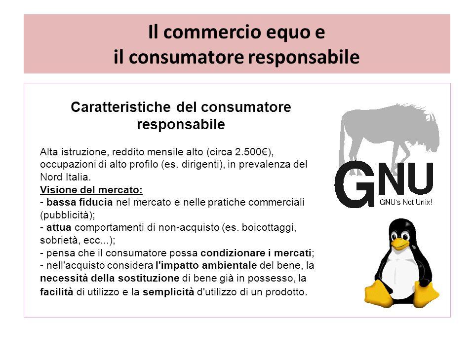Il commercio equo e il consumatore responsabile Caratteristiche del consumatore responsabile Alta istruzione, reddito mensile alto (circa 2.500€), occupazioni di alto profilo (es.