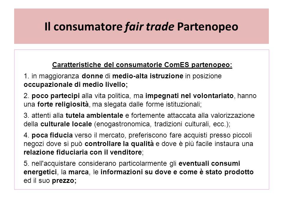 Il consumatore fair trade Partenopeo Caratteristiche del consumatorie ComES partenopeo: 1.