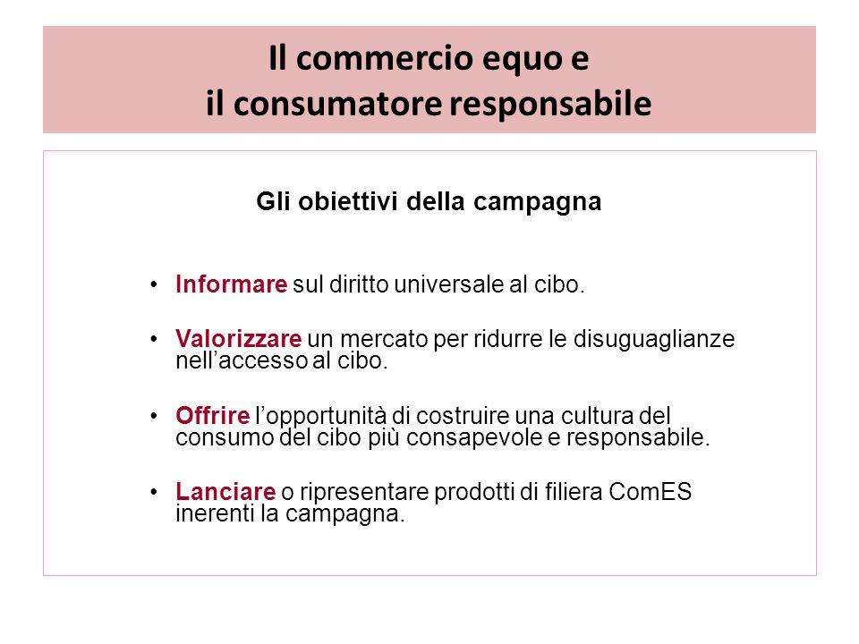 Il commercio equo e il consumatore responsabile Gli obiettivi della campagna Informare sul diritto universale al cibo.