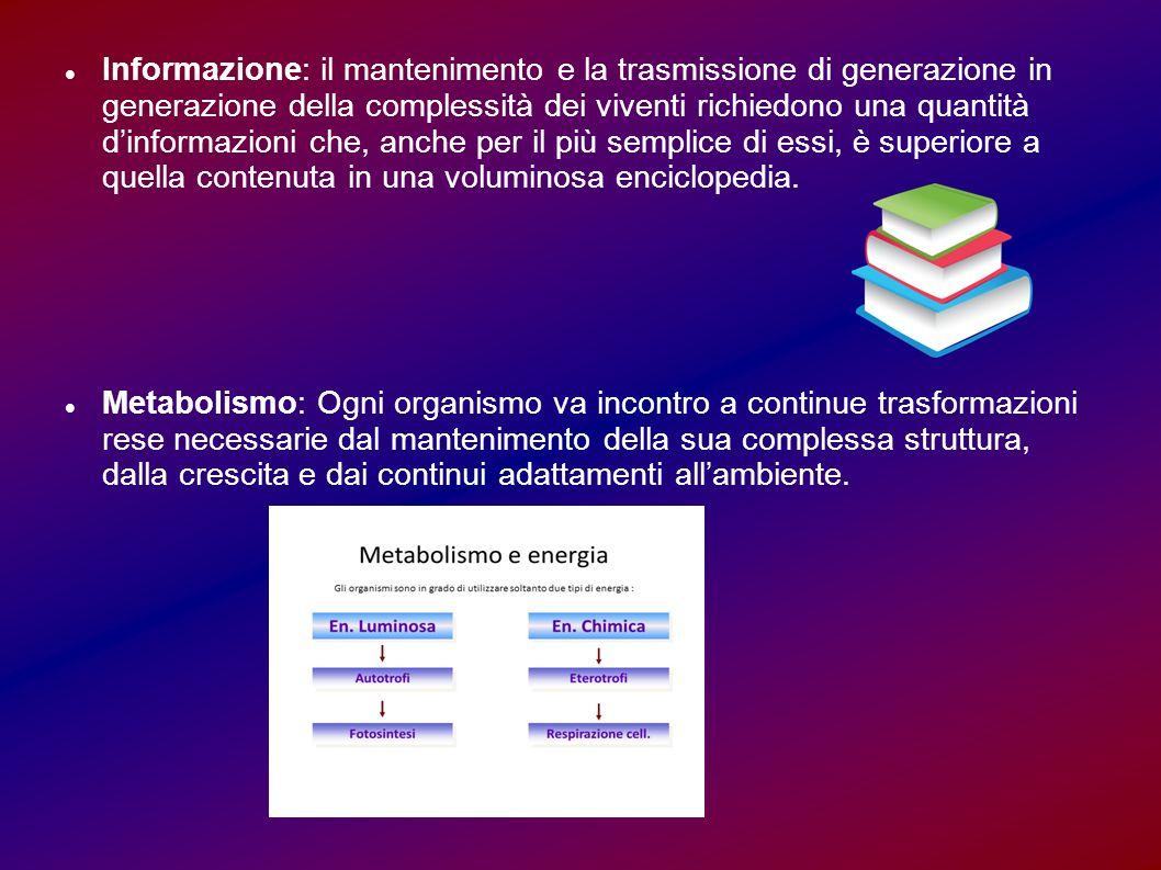 Informazione: il mantenimento e la trasmissione di generazione in generazione della complessità dei viventi richiedono una quantità d'informazioni che, anche per il più semplice di essi, è superiore a quella contenuta in una voluminosa enciclopedia.