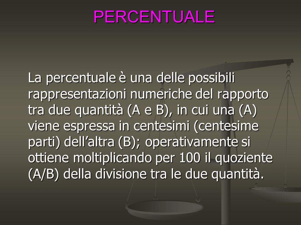 PERCENTUALE La percentuale è una delle possibili rappresentazioni numeriche del rapporto tra due quantità (A e B), in cui una (A) viene espressa in centesimi (centesime parti) dell'altra (B); operativamente si ottiene moltiplicando per 100 il quoziente (A/B) della divisione tra le due quantità.