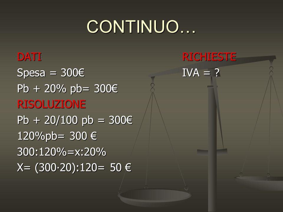 CONTINUO… DATI Spesa = 300€ Pb + 20% pb= 300€ RISOLUZIONE Pb + 20/100 pb = 300€ 120%pb= 300 € 300:120%=x:20% X= (300∙20):120= 50 € RICHIESTE IVA = ?