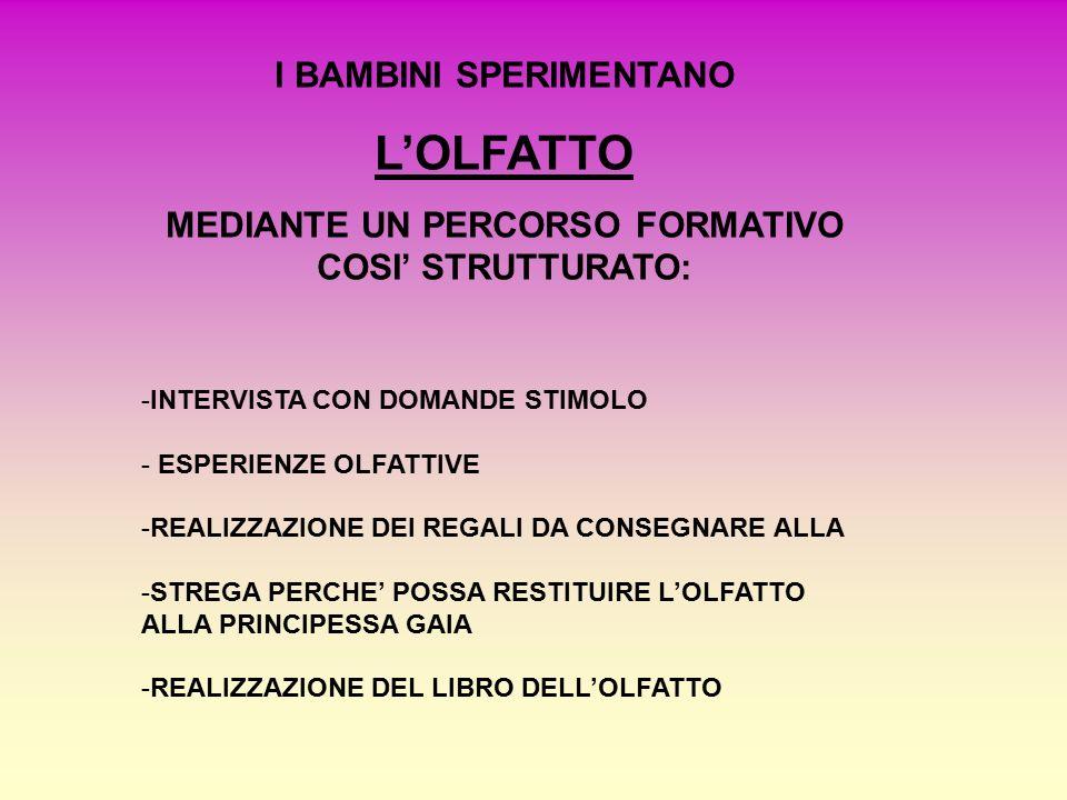 I BAMBINI SPERIMENTANO L'OLFATTO MEDIANTE UN PERCORSO FORMATIVO COSI' STRUTTURATO: -INTERVISTA CON DOMANDE STIMOLO - ESPERIENZE OLFATTIVE -REALIZZAZIONE DEI REGALI DA CONSEGNARE ALLA -STREGA PERCHE' POSSA RESTITUIRE L'OLFATTO ALLA PRINCIPESSA GAIA -REALIZZAZIONE DEL LIBRO DELL'OLFATTO