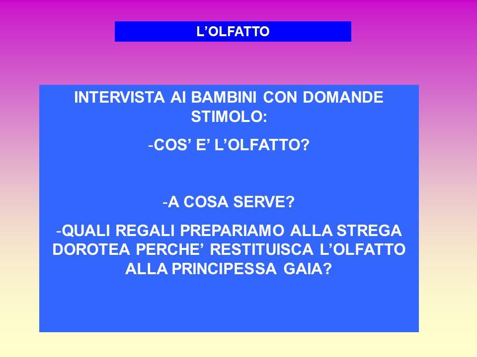 INTERVISTA AI BAMBINI CON DOMANDE STIMOLO: -COS' E' L'OLFATTO.