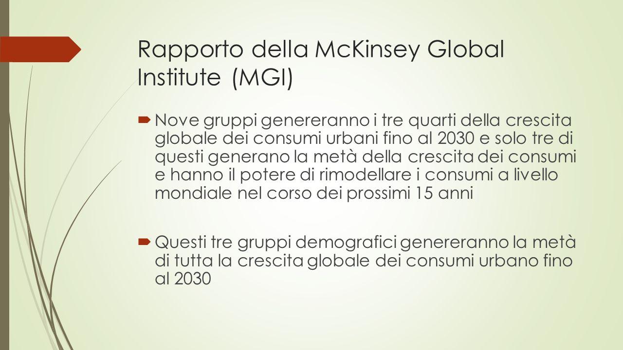 Rapporto della McKinsey Global Institute (MGI)  Nove gruppi genereranno i tre quarti della crescita globale dei consumi urbani fino al 2030 e solo tre di questi generano la metà della crescita dei consumi e hanno il potere di rimodellare i consumi a livello mondiale nel corso dei prossimi 15 anni  Questi tre gruppi demografici genereranno la metà di tutta la crescita globale dei consumi urbano fino al 2030